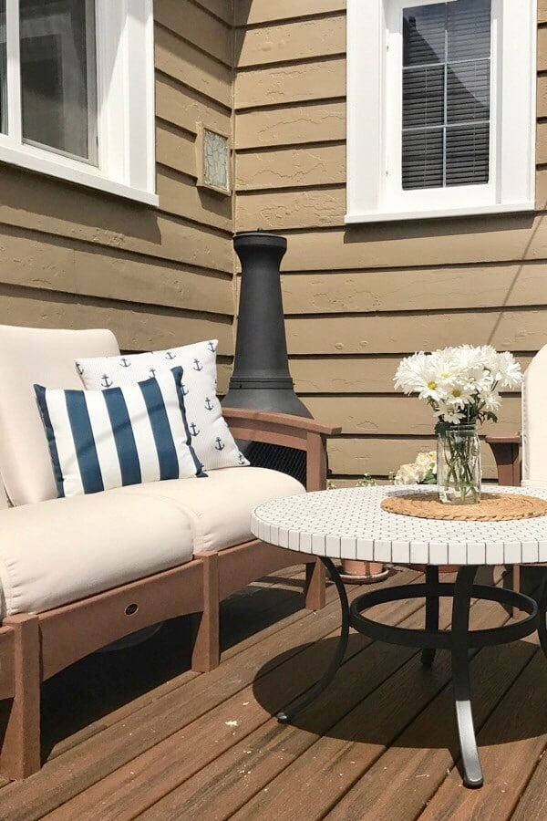 outdoor space with furniture and round coffee table