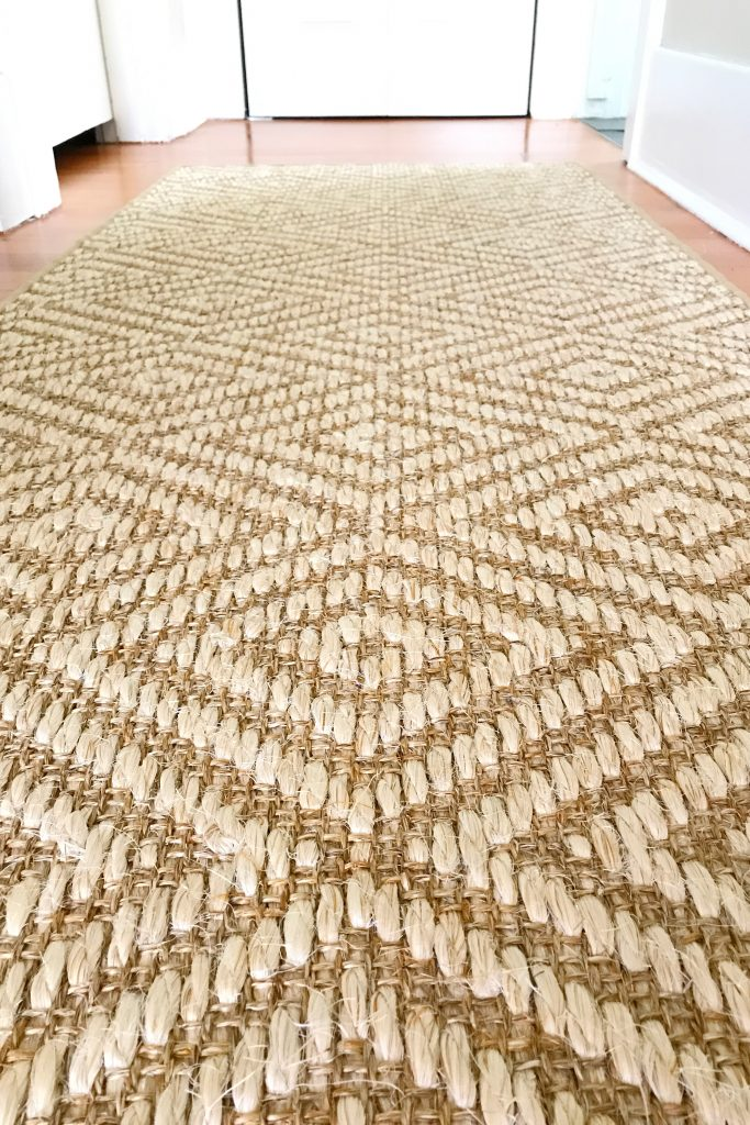 close up of a jute rug