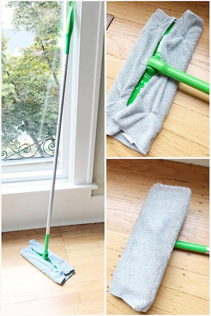 Use Microfiber cloths around your Swiffer. Get more cleaning hacks right here.