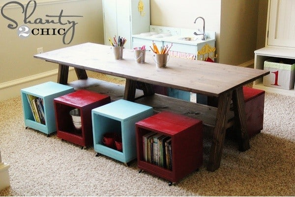 Large table with storage seats for children activities