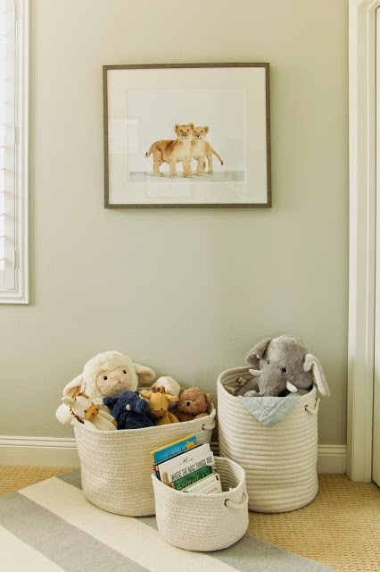 large baskets help corral toys and stuffed animals