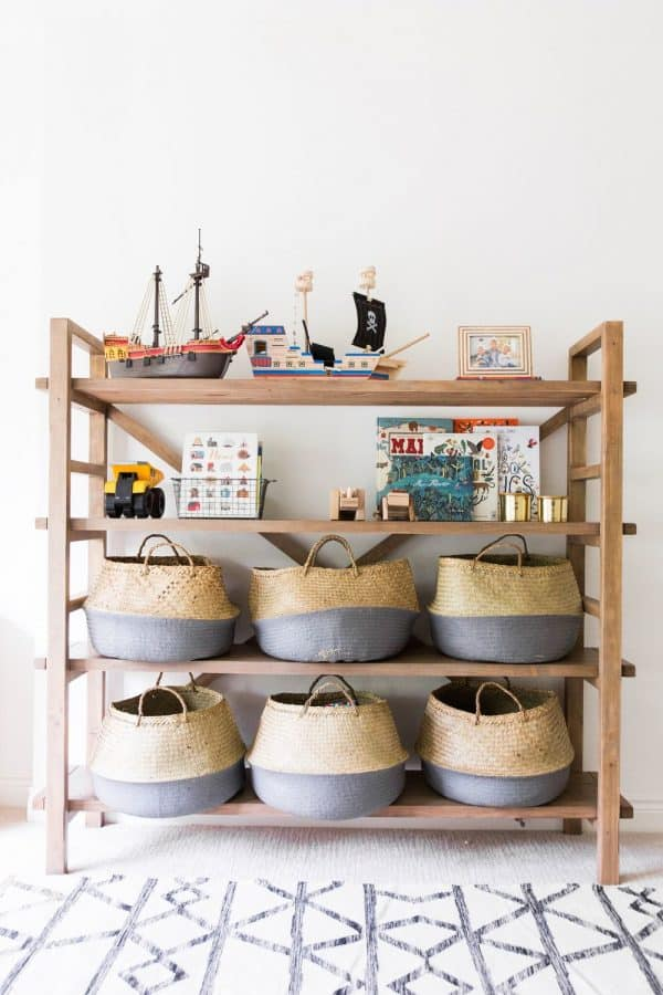 use large baskets to store bulky toys and keep things organized