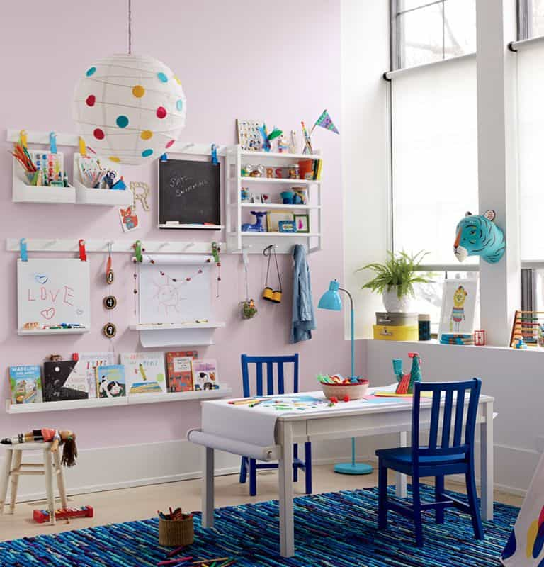 Colorful playroom with wall organizer