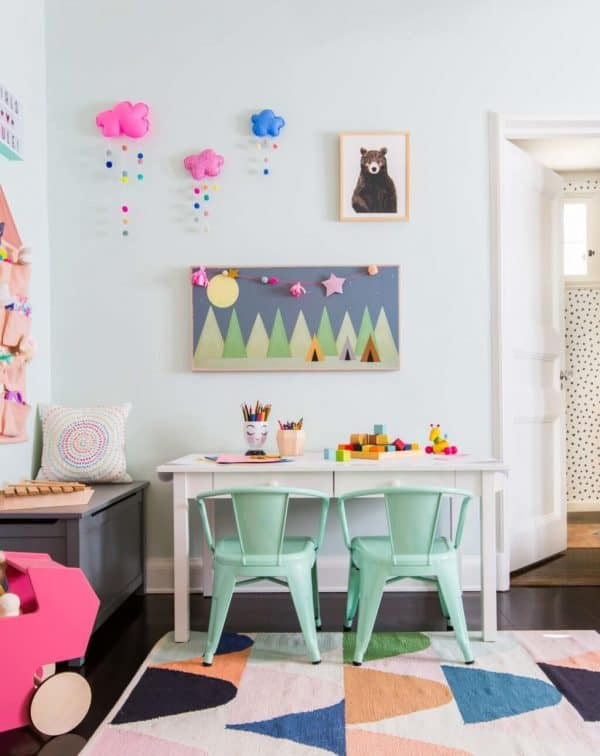 Colorful playroom designed by Emily Henderson.