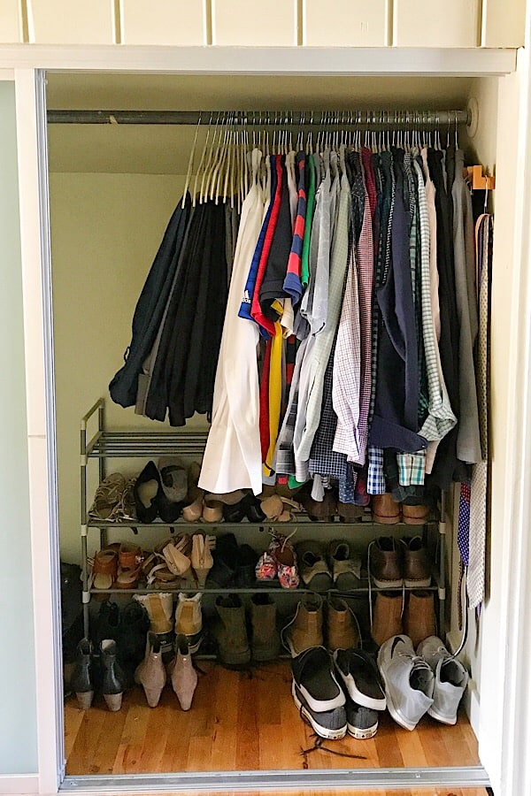 The after :  showing the closet with tons more room after using space saving hangers