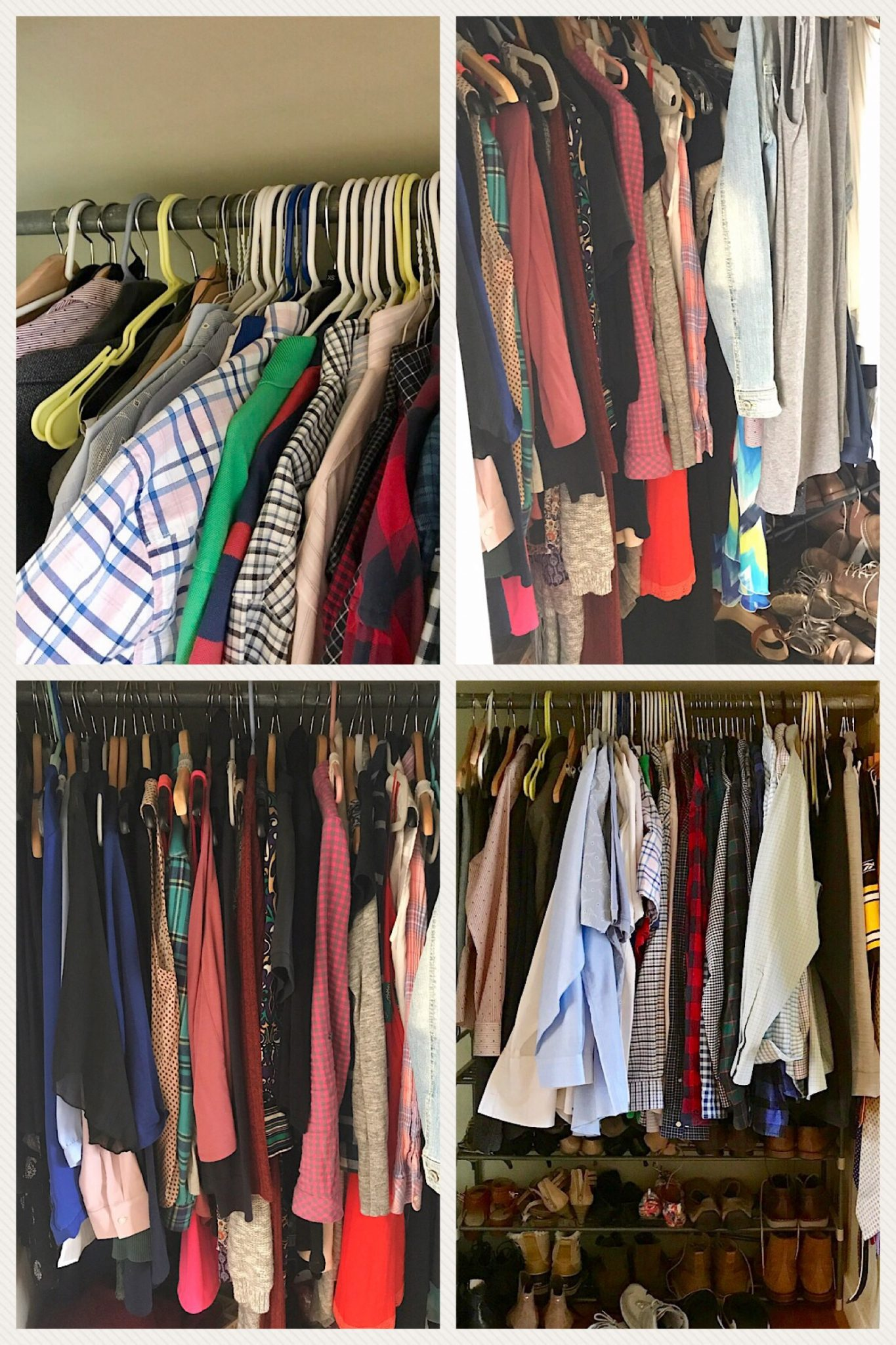 A photo of a closet space before organizing.