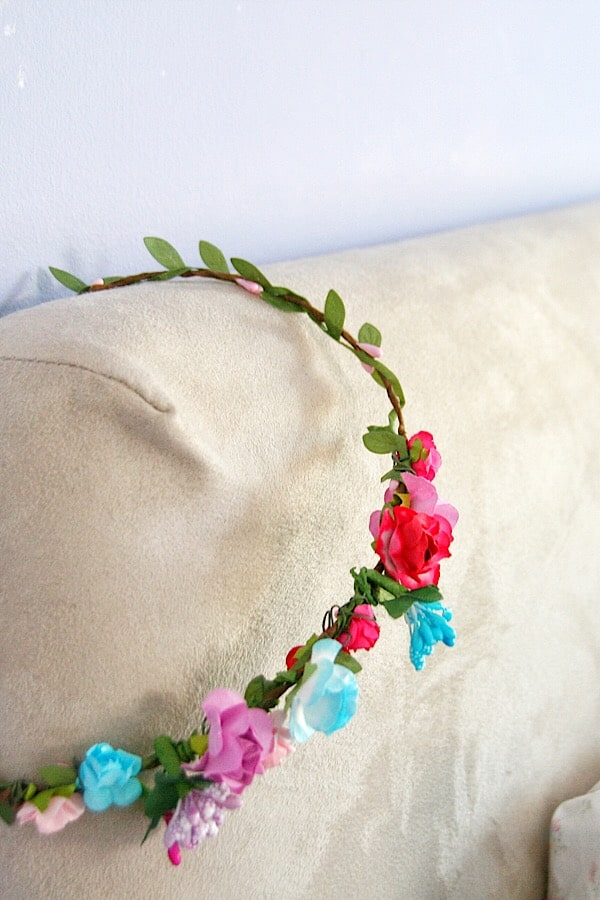 Flower Crown hanging on headboard