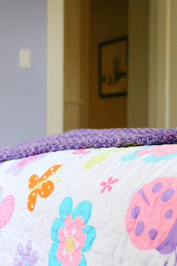 close up of girls bedding