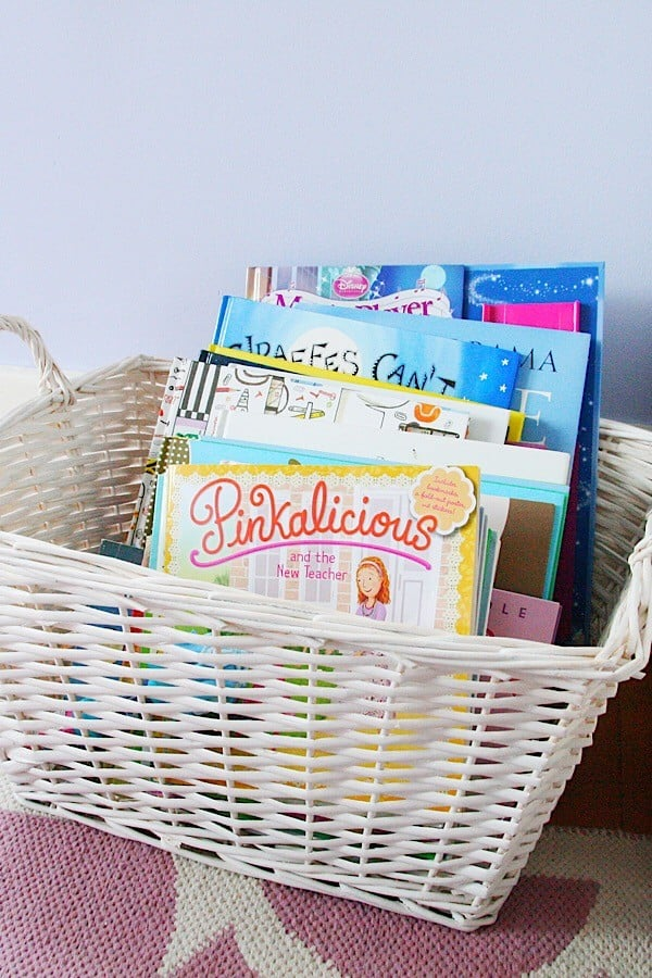 Kids Books organized in a basket