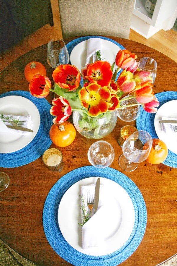 Blue and orange thanksgiving table