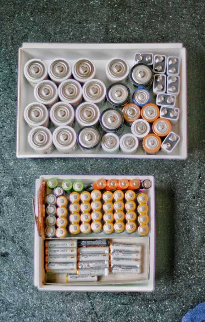 Store your Batteries in small drawer storage containers