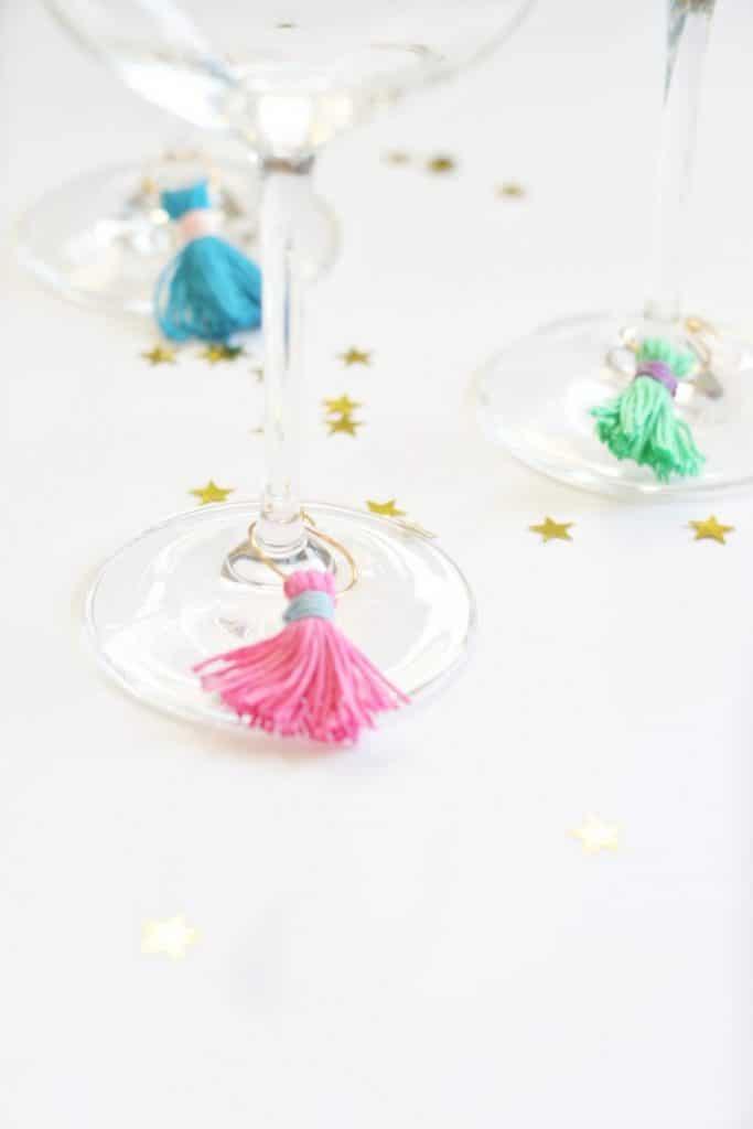DIY WINE CHARMS with TASSELS