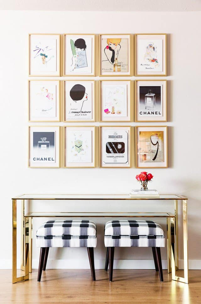 Entryway decor ideas - a gallery wall of art prints