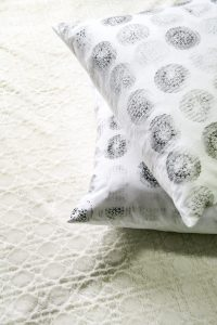DIY Block Print Pillow Cover - Make a pretty DIY Block Print Pillow Cover for your Decor!
