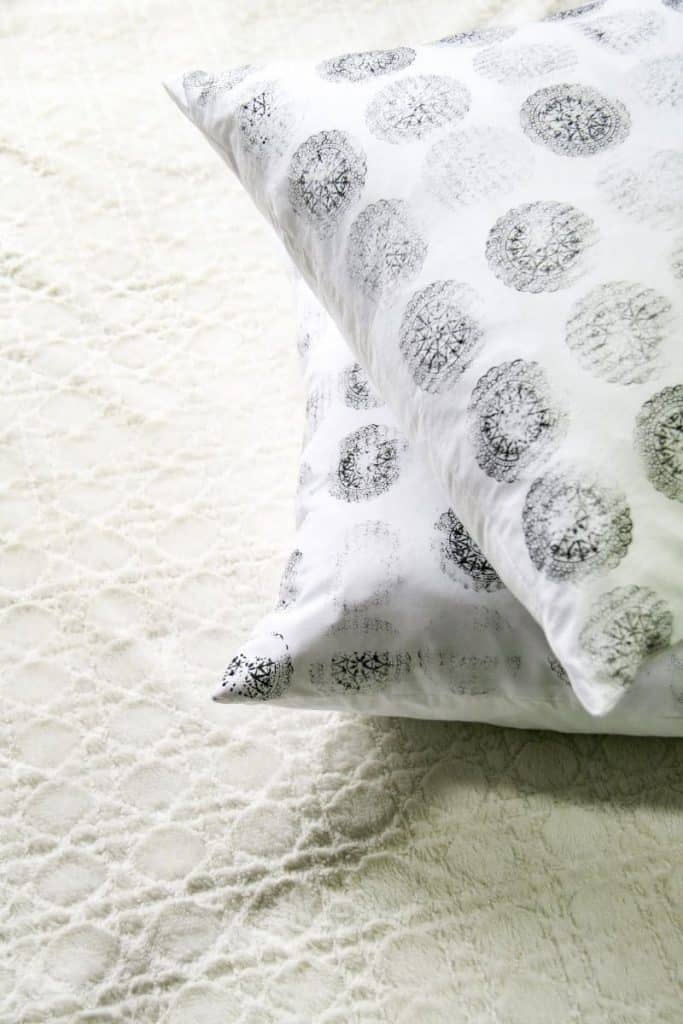 DIY Block Print Pillow on floor