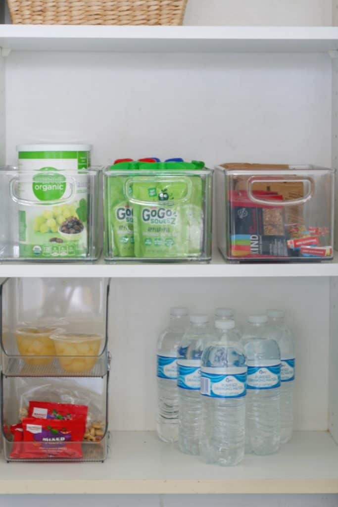 Acrylic Organizers : Use these clear bins to organize kids snacks, like applesauce, fruit cups and nutrigrain bars.