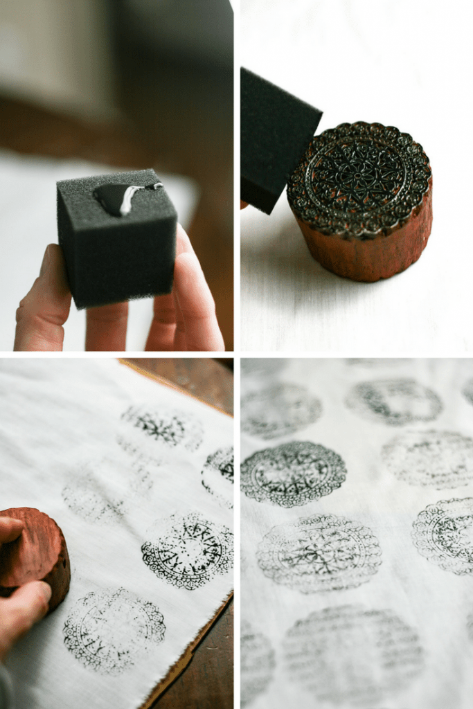 Stamp your Fabric as you desire. Use fabric paint that you can wash.
