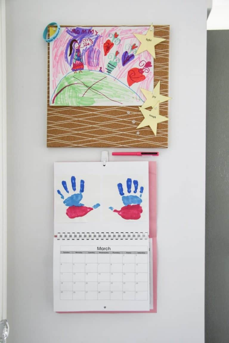 How to Set up a Home Command Center – with Velcro!  Plus Ideas for Displaying Kids Artwork
