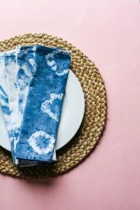 shibori napkins on a plate