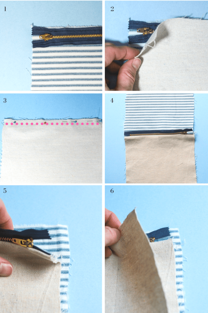 Instructions step by step for making a diy zipper pouch with a liner.