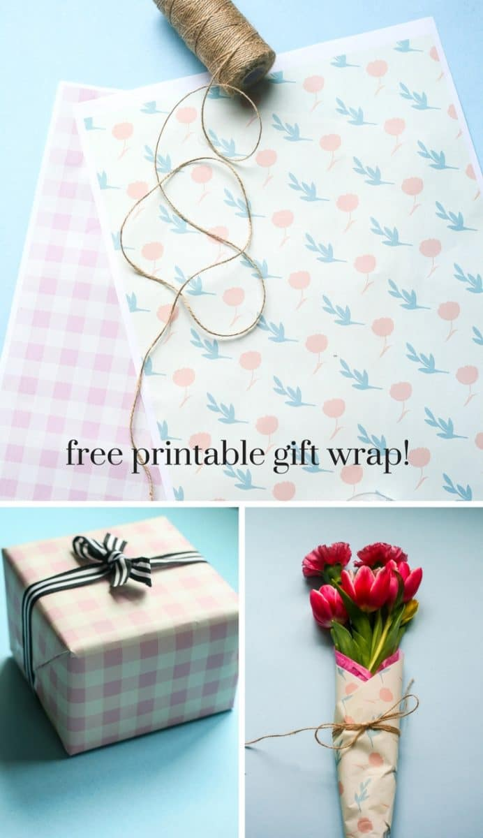 DIY mini flower bouquet with free printable gift wrap