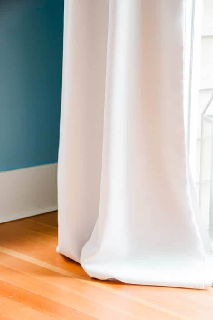Close up of white drapes.