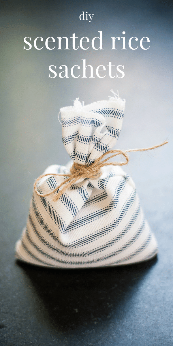 Scented sachets are an easy way to freshen up your linen cabinet, drawers and closets. These fabric sachets are made with rice and essential oils. Use whichever scents you love! This is an easy way to use up old fabric scraps and this also makes a wonderful handmade gift or shower favor.