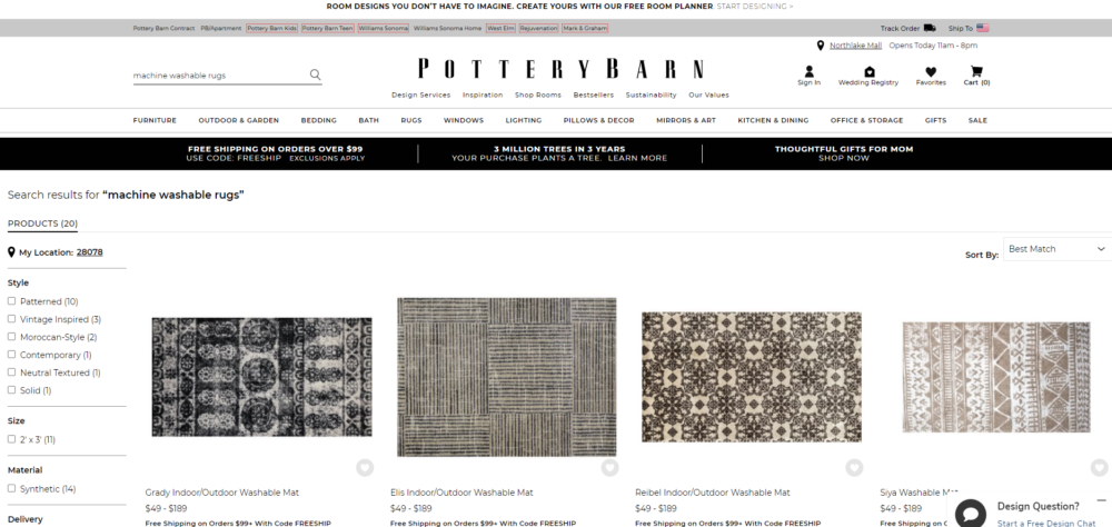 Best Washable Rug - Pottery Barn website - how to find their washable rugs