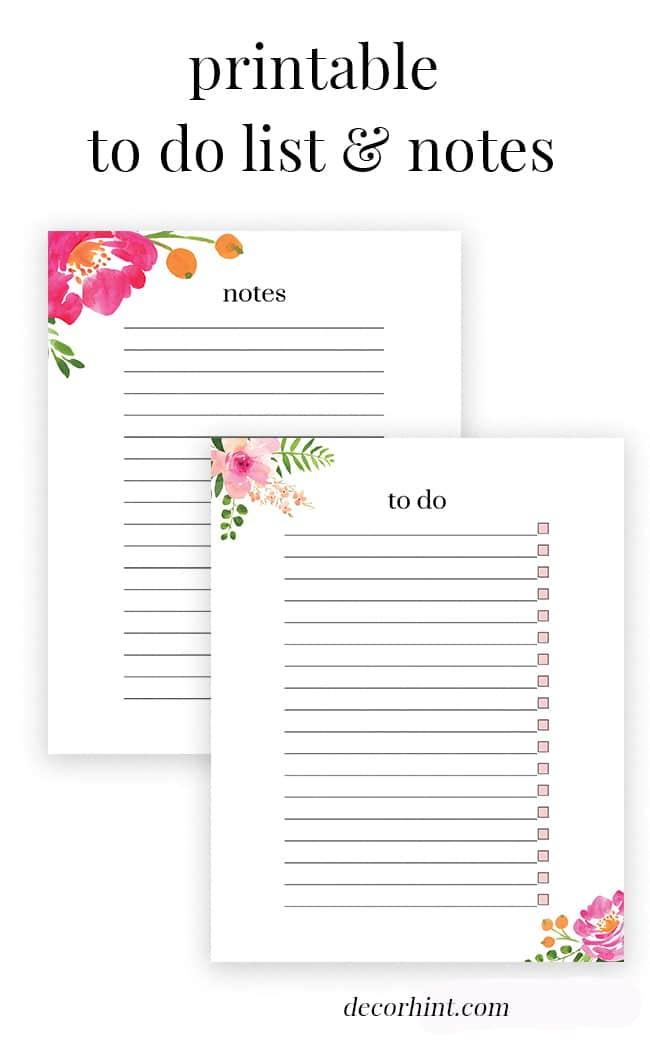 picture relating to Printable Lists named Free of charge Printable Floral Toward Do Listing and Notes! - Decor Trace