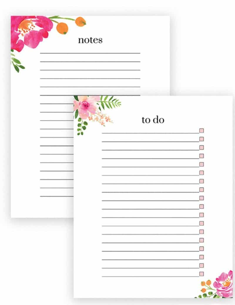free printable floral to do list and notes
