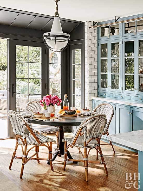 Better Homes and Gardens : Paris Bistro Chairs  - where to find them and inspiration on how to use them!  These gorgeous Parisian bistro chairs give your rooms that perfect pop of texture and interest without the clutter.