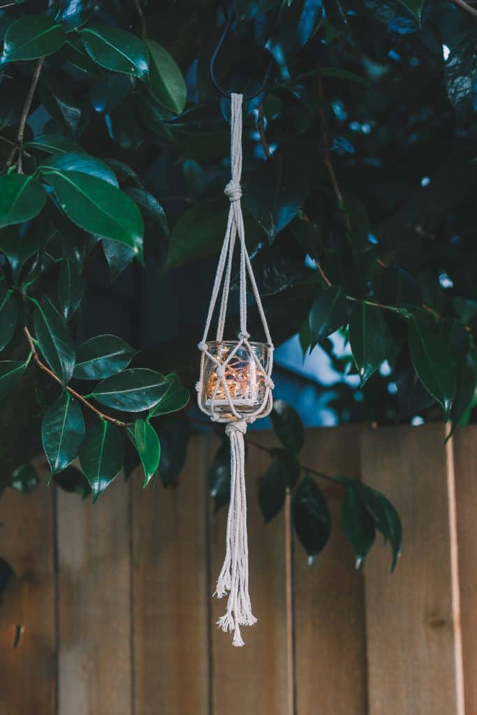 Macrame jar hanger with fairy lights