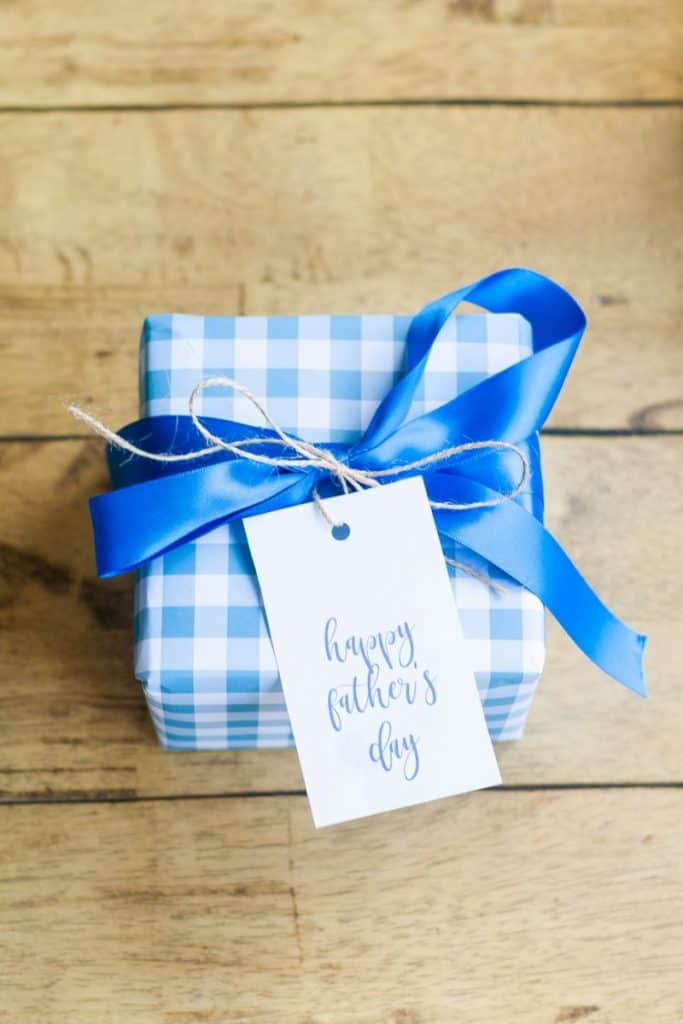 Father's Day is right around the corner!  I designed some blue gingham printable gift wrap and gift tags.  #printable #printables #giftideas