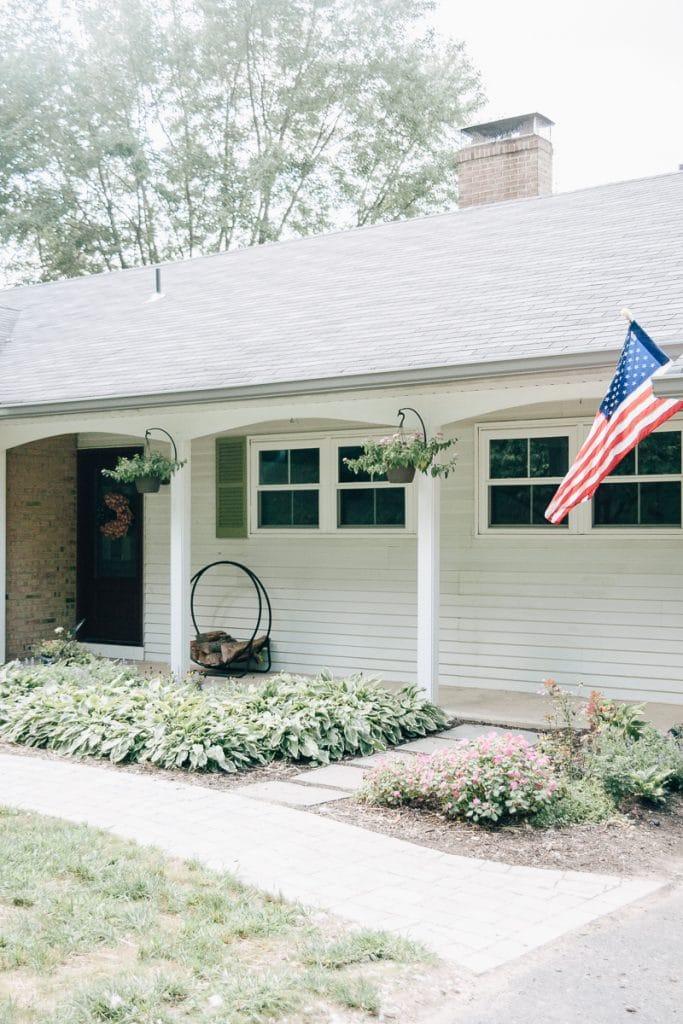 Farmhouse with flag