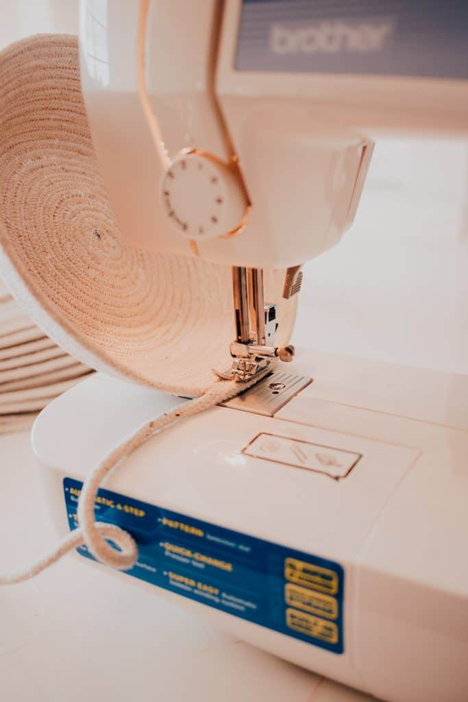 Place your rope basket under your sewing machine to attach together