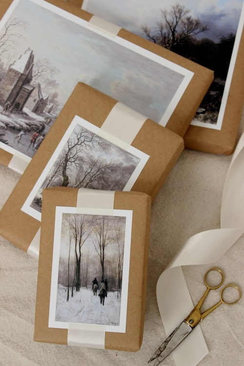 winter scene gift toppers - brown paper wrapping