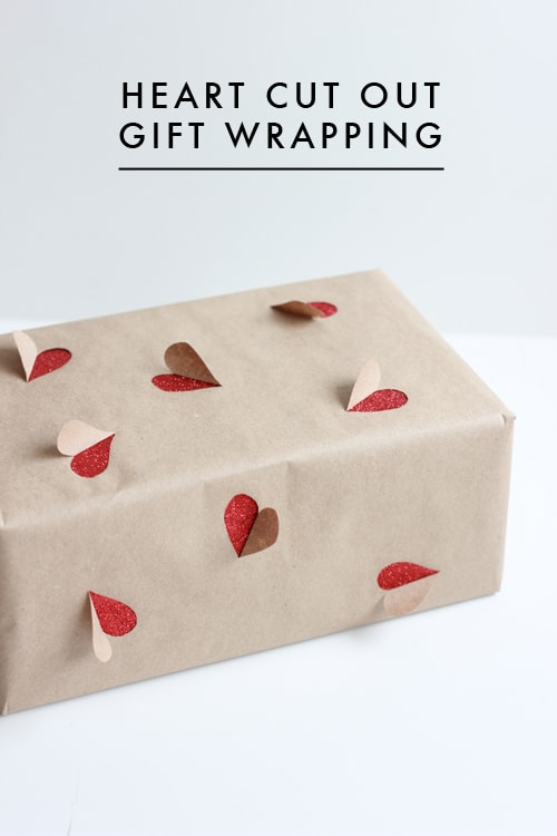 heart cut outs brown paper wrapping