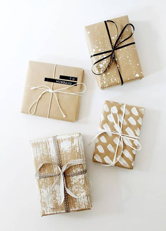 White painted brown paper wrapping
