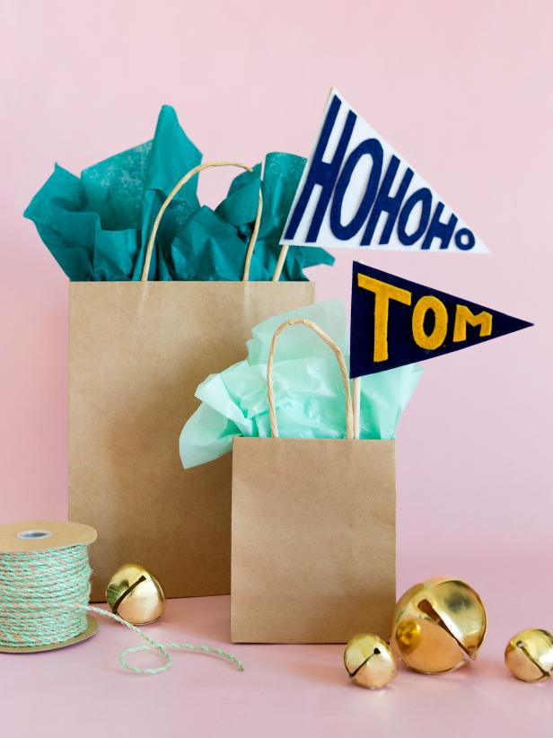 Brown Paper wrapping ideas - paper bag collegiate theme