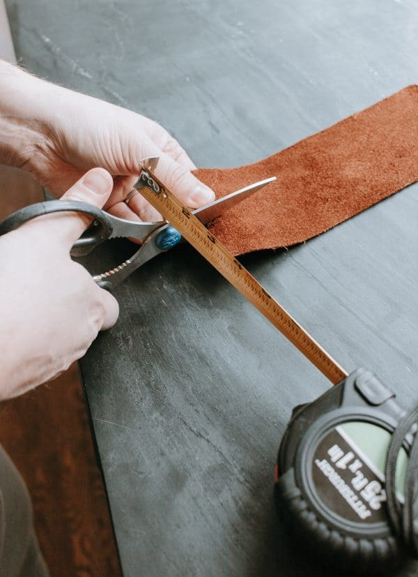 Cut down your leather fabric to the size you want