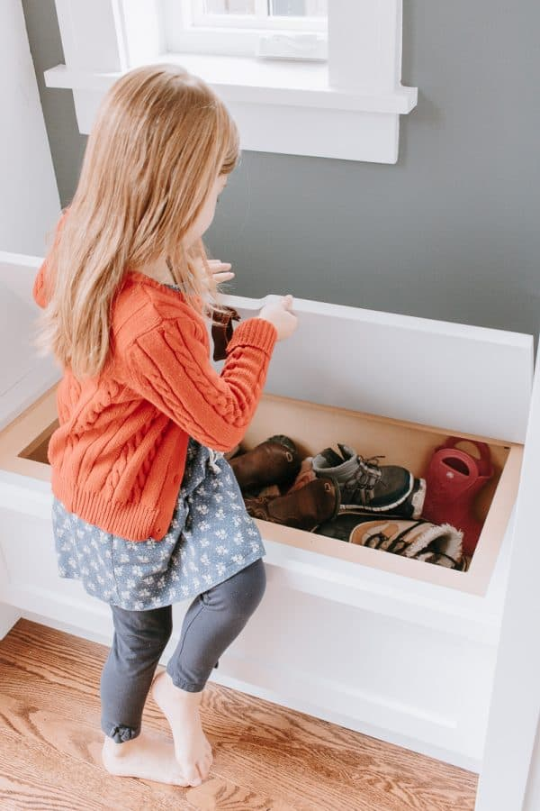 Use a drawer pull for your storage bins