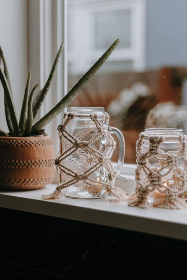 Macrame mason jars on windowsill