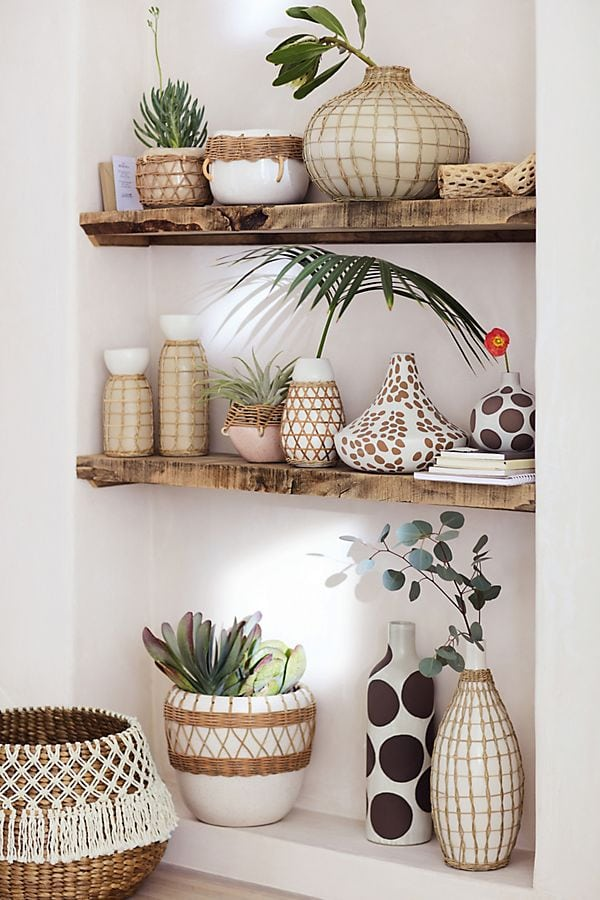 inspiration for macrame mason jars - shelving with rattan vases displayed