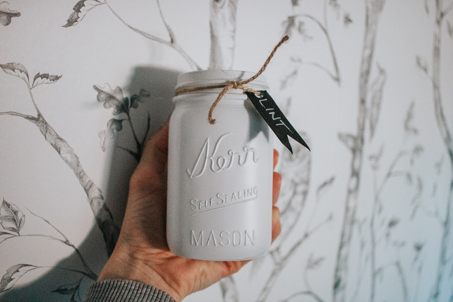DIY Lint Bin for your Laundry Room - Make this Easy Mason Jar Craft - It's magnetic so it will stick to your dryer. Super convenient!
