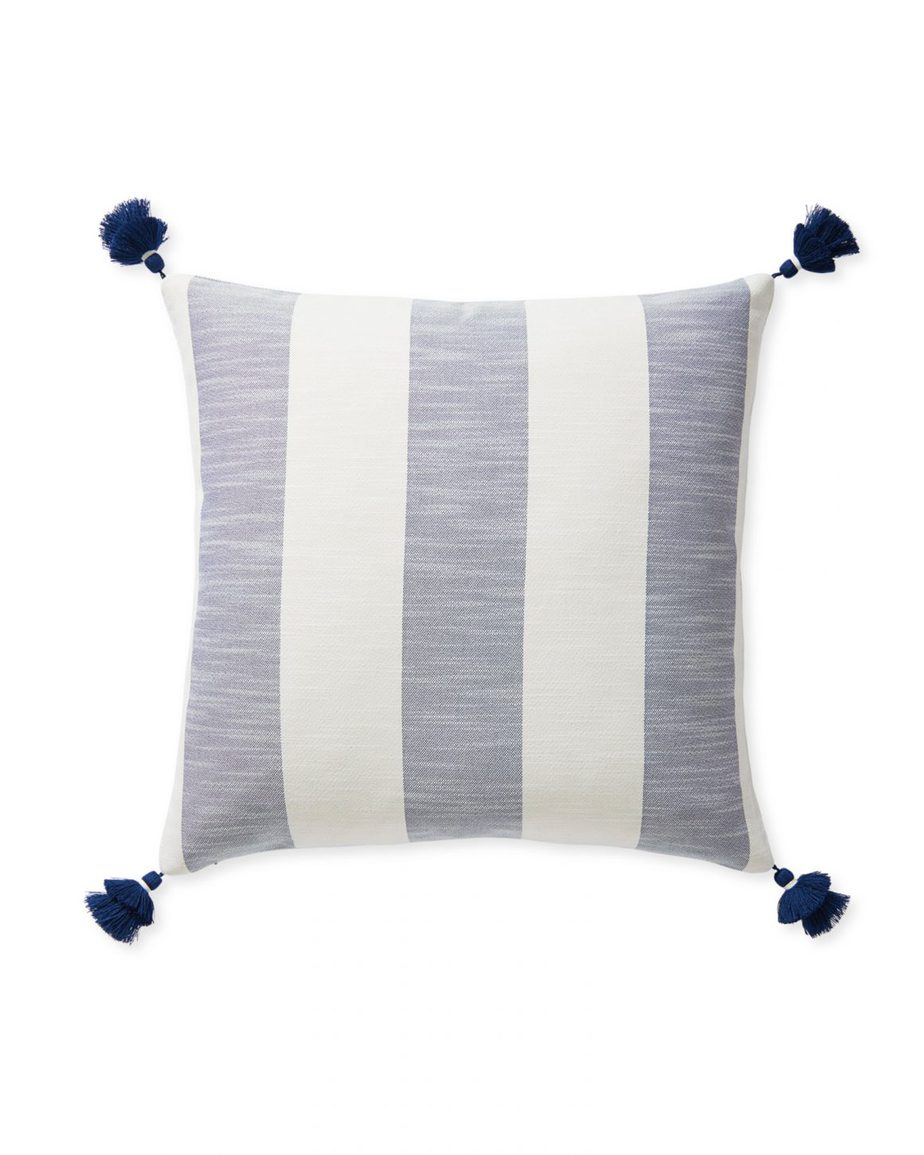 Serena and Lily Beach Stripe Outdoor Pillow with Tassels
