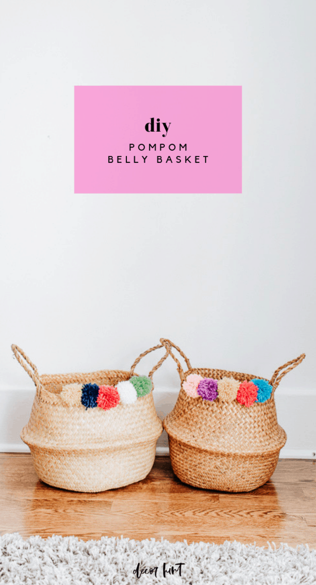 DIY Pom Pom Belly Basket [Anthropologie Knock-off] - What's up, friends? I completed another little knockoff project for your weekend. This really fun and colorful pom pom belly basket. And guess where I found the inspiration? Anthropologie!