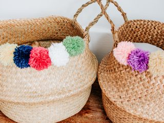 Make this DIY Pom-Pom Belly Basket with just a few inexpensive materials! #diy #pompoms