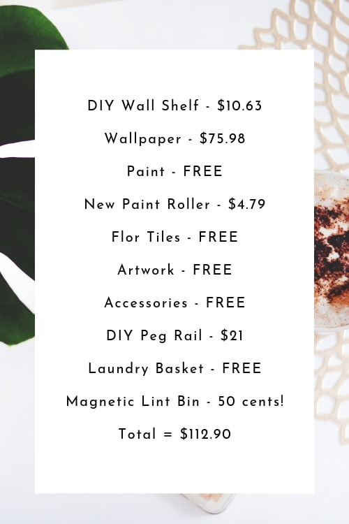 Cost for all items from my Budget Laundry Room Makeover - so far!