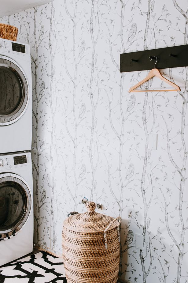 black and white wallpaper in laundry room, budget laundry room makeover