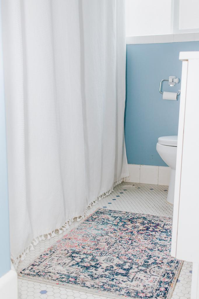 Super Simple Shower Curtain Idea for Your Bathroom :  Add tassel trim! #bathroom